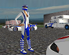 blue and white Race Suit