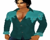 Western Shirt Teal Suede