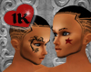 !!1K RED STAR FACE TATTO