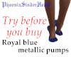 Royal blue metallic pump