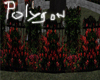 Polygon red roses fence