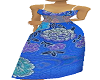 blue flowered gown