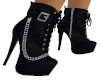 Blk Leather Booties