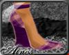 {A}Violet Plaid Wedges