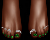 GREEN DRK ToeNails Rings