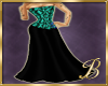 green corset gown