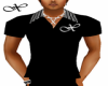 Blk X Striped Collar Top