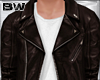 Brown W Leather Jacket M