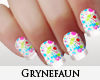 White multicolor nails