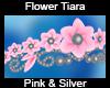 Flower Tiara Pink/Silver