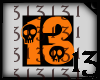 13 Skull Orange Blk BG
