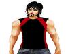 black & red t-shirt