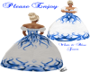 white & blue Gown
