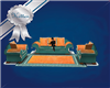 Teal & Orange Couch Set