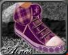 {A}Violet Plaid Sneakers