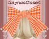 *J* Big Orange Hair Bow