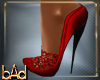 Red Lace Spike Heels