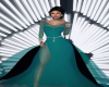 J36 Blk & Teal Tail Gown