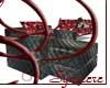 Vinyl/red skull chair