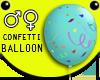 Turquoi Confetti Balloon