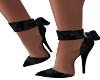 Black Velour Bow Heels