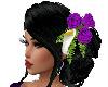 Black Updo Purple Flower