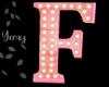 Pink Wood Letter F