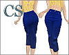 Simple Blue Denim Capris