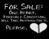 Heart for sale sticker