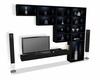 Sleek lit up shelf + tv