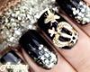Dark nails + golden ring