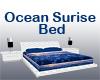 White bed ocean sunrise