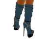 Blue Leather Calf Boots