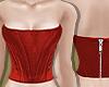 Red Silk Bustier Top