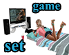 video game and bed
