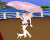 Pink Umbrella Wht Cat