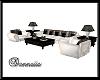 BLK/White Large Sofa Set
