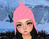 Pink Winter Hat Blk Hair