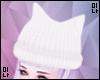 M| White Kitty ear Hat