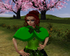 Green cape with bow