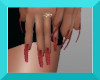 FA red glitter long nail