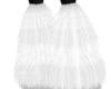White fur boots