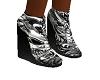 b/w skull wedge shoes