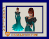 (CR) Teal-Blk Fur Gown