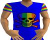 Blue rainbow skull shirt
