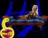 Oak and Blue Silk Bench
