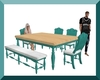 Teal Table & Chairs