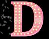 Pink Wood Letter D