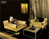 *E4U*Gold Black Sofa