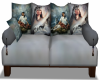 Indian w Wolf Grey Couch